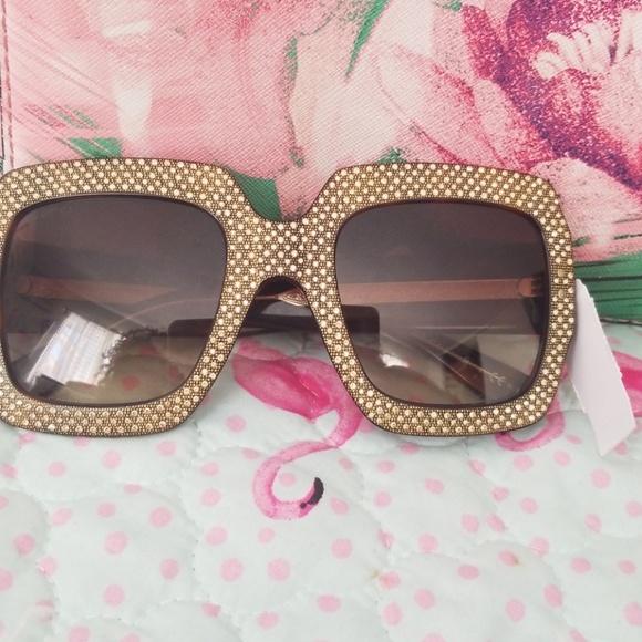 273c632664 Gucci Crystal-Trim Square Gradient Sunglasses